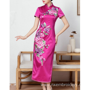 China for Hand Embroidery Cheongsam Dress Hand Embroidery Phoenix  Peony Slim Women's Dress supply to Bouvet Island Manufacturer