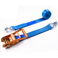 "2"" 6T 50mm Heavy Duty Ratchet Buckle Cargo Tensioner Lashing Belt With 2 Inch Double J Hooks"