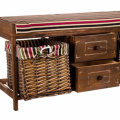 WOOD WICKER SEAT DRAWER STORAGE CABINET CUPBOARD HALLWAY FURNITURE SHOE RACK