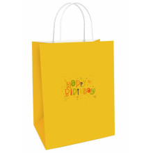 Cheap yellow kraft paper shopping bags