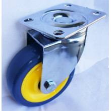4'' blue polyurethane swivel plate casters wheels