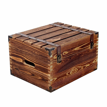 Rustic Storage Box Wood 6 Wine Bottle Case with Handles