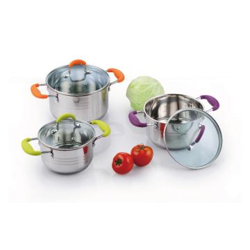 6 pieces stainless steel Casserole With Silicone Handles