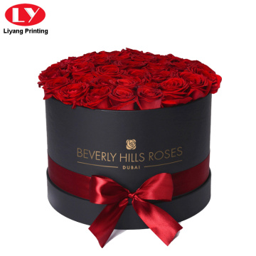Cardboard Black Round Flower Rose Gift Box