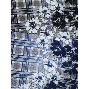 Check Border Rayon Challis 30S Air-jet Printing Fabric