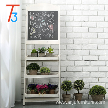 indoor wooden flower stand with 3 display shelves