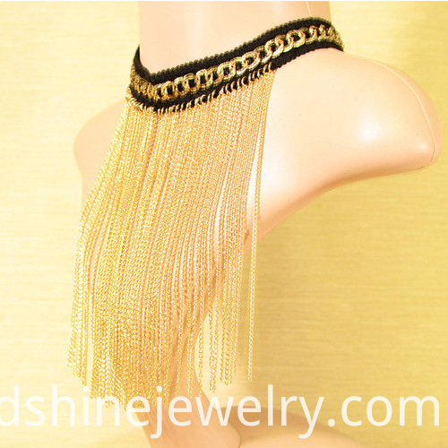 gold plated necklace, crochet necklace