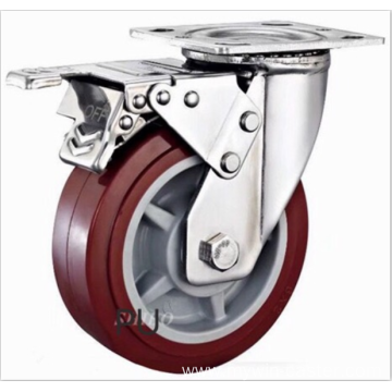 8  inch Stainless steel bracket PU casters with brakes