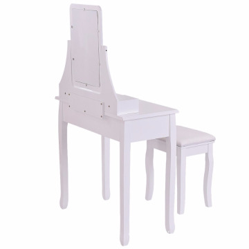 White Bathroom Vanity Dressing Table Set rectangular Mirror with Stool