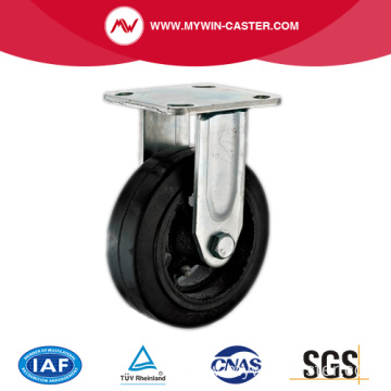 4'' Rigid Heavy Duty Black Rubber Industrial Caster with Iron Core