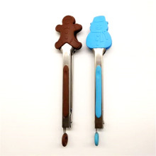 "7"" cartoon silicone stainless tongs"