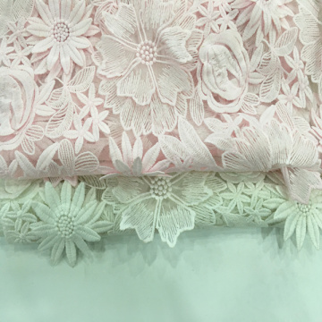 Milky Yarn 3D Handmade Flower Embroidery Fabric