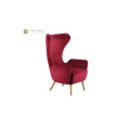 Fabric Red 1 Seater Sofa with High Back