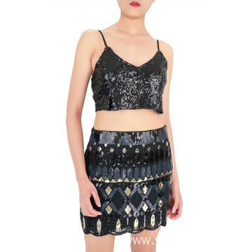 Party Black Sequin Girls Skirt