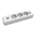 3 ways French extension sockets with USB