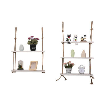 Hanging Swing Storage Shelves 3 Tier Jute Rope Organizer Rack