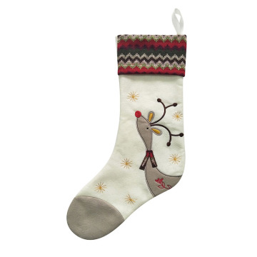 Velvet Christmas stocking with reindeer pattern