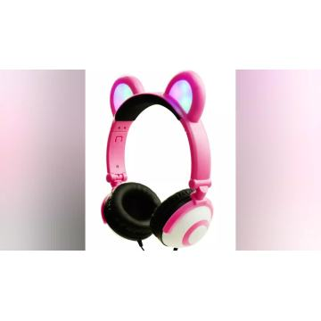 Funny LED Light Headphones Promotional avec Oreille d'Ours