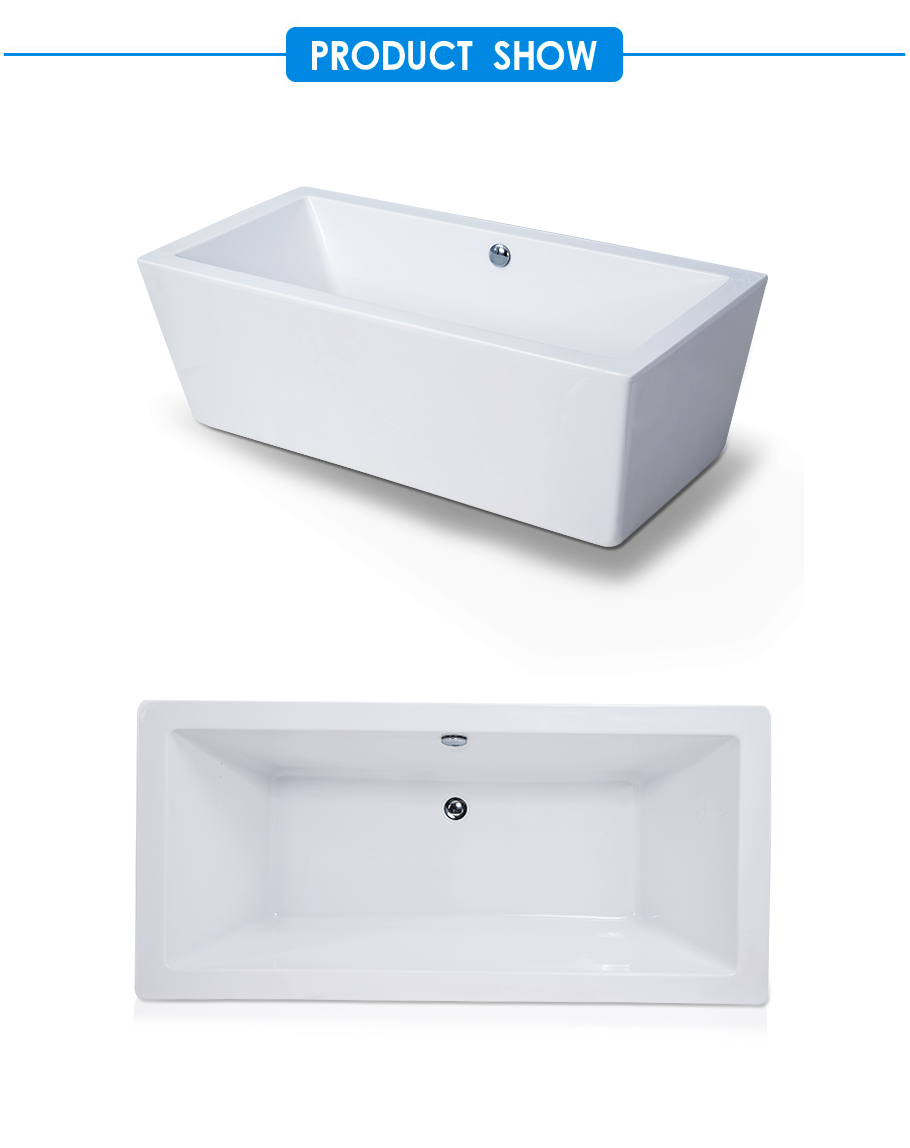 Eden Center Drain Soaking BathTub in White