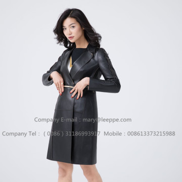 Lady Sheepskin Leather Overcoat Designers