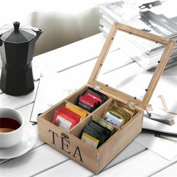 Rustic Wooden Medium Wooden Tea Bag Storage