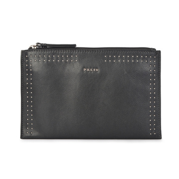 Black Clutch Bag Metallic Embossed Slim Wristlet Pouch