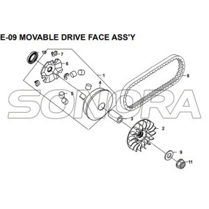 E-09 MOVABLE DRIVE FACE ASSY for XS175T SYMPHONY ST 200i Spare Part Top Quality