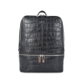 Crocodile genuine leather black backpack for women
