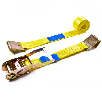 "2"" 5 Ton 50mm OEM Logo Aluminum Long Handle Ratchet Buckle Cargo Tensioner Lashing Belt With 2 Inch Flat Hooks"