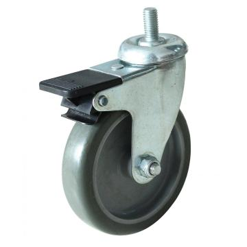 3inch screw caster with brake PP wheel