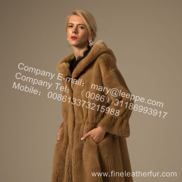 Women Reversible Winter Mink Fur Overcoat