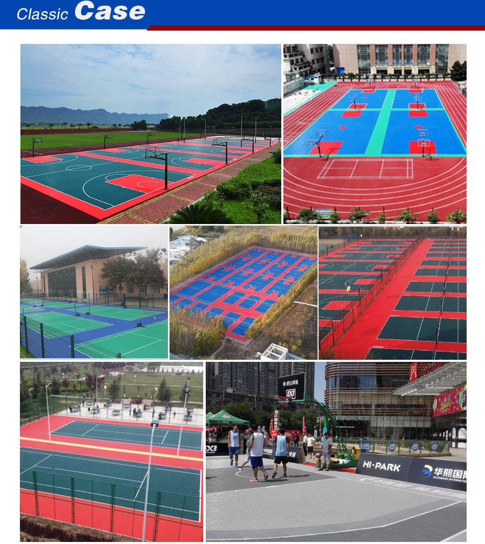 Outdoor basketball court tiles