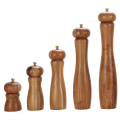Wood salt and pepper grinder set