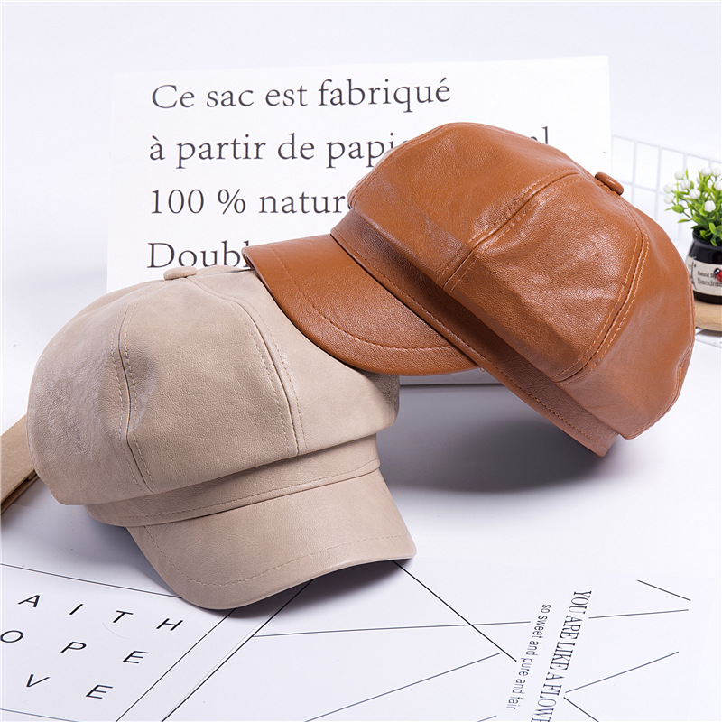 Solid color pu leather British retro octagon beret (3)