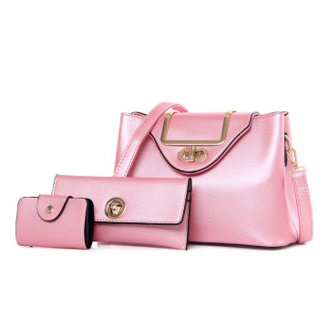 Cute girl bright color 3pcs set leather bag