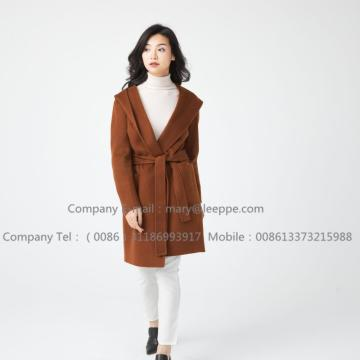 Hooded Medium Cashmere Coat For lady
