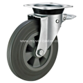 6 Inch Plate Swivel Gray Rubber PP Core With Bracket Dustbin Wheel