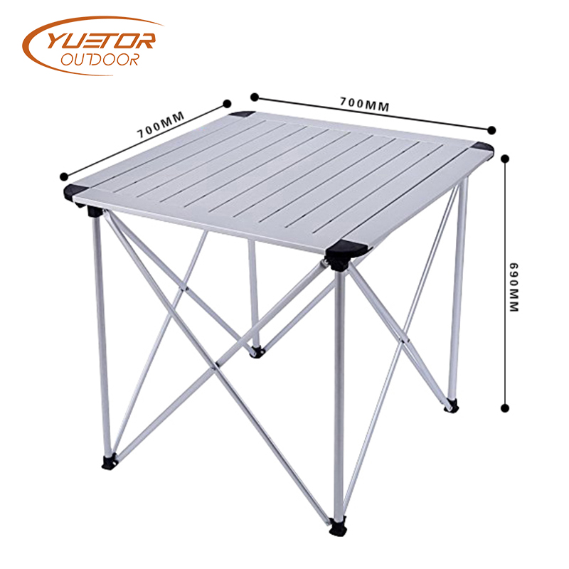 Collapsible Aluminum Alloy Folding Roll Top Lightweight Portable Stable Camping Table 4