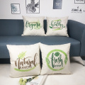 Set of Plants Throw Pillow Covers Green Leaves Decorative Cushion Cover Pillow Case for Sofa Bedroom Car Couch 18 x 18 Inch