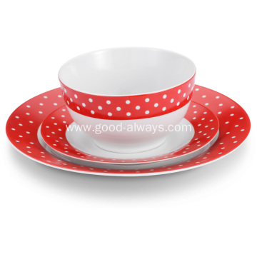 18 Piece Dinnerware Set White Dots Red