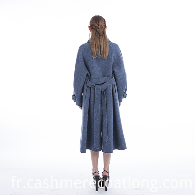 Blue cashmere coat back