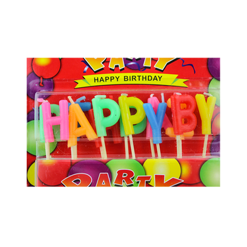 Paraffin Wax Happy Birthday Letter Candle with Glitter