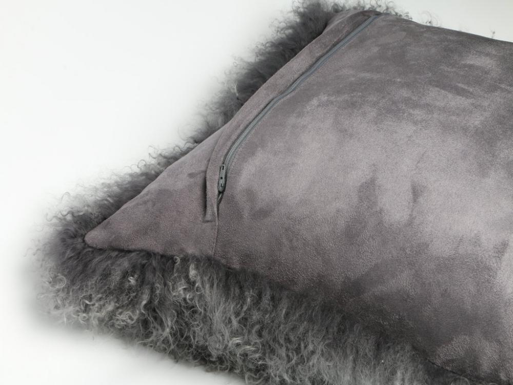 Tibetan Lamb Fur Pillow Dark Grey
