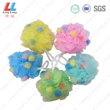 Colored sponge mesh bath ball