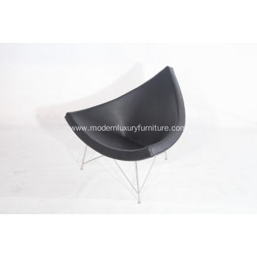 coconut leather lounge chair in black aniline leather