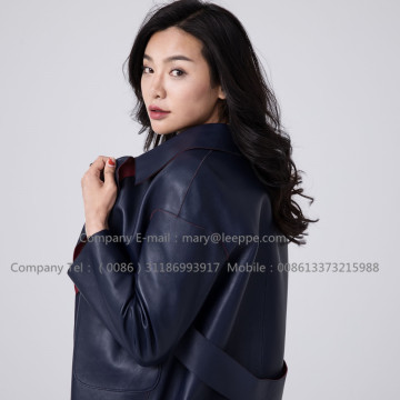 Women Long Sheepskin Leather Overcoat