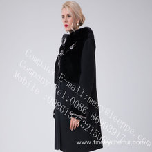 Australia Merino Shearling Coat With Mink Flower Lady