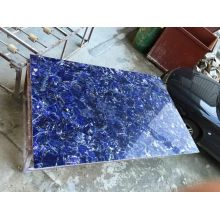 Chinese Professional for Semi Precious Stone Coffee Table Translucent or No Translucent blue sodalite plate export to France Manufacturer
