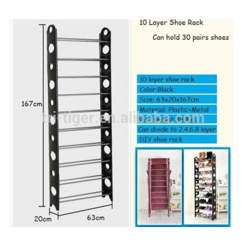 Can be portable 10 tiers iron shoe rack simple designs