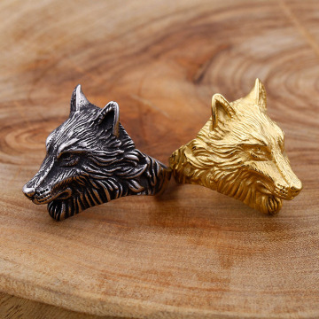 Mens Stainless Steel Viking Gold Wolf Ring